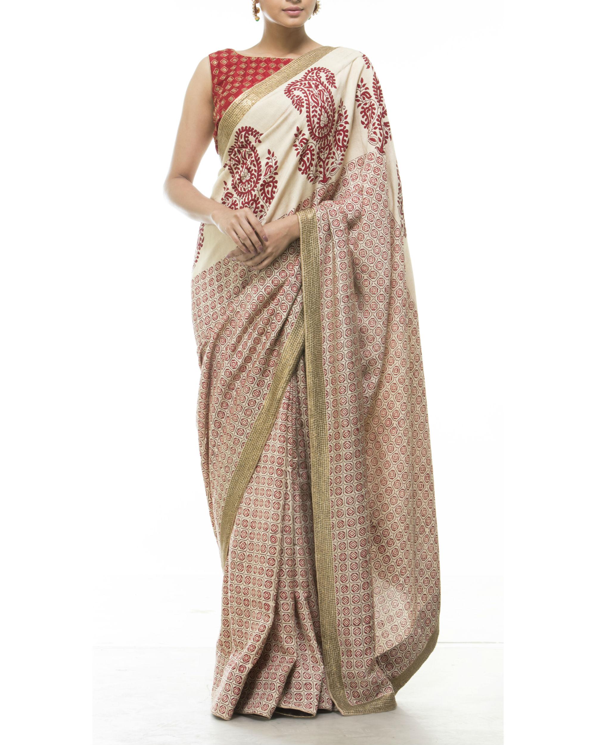 Red and beige printed sari