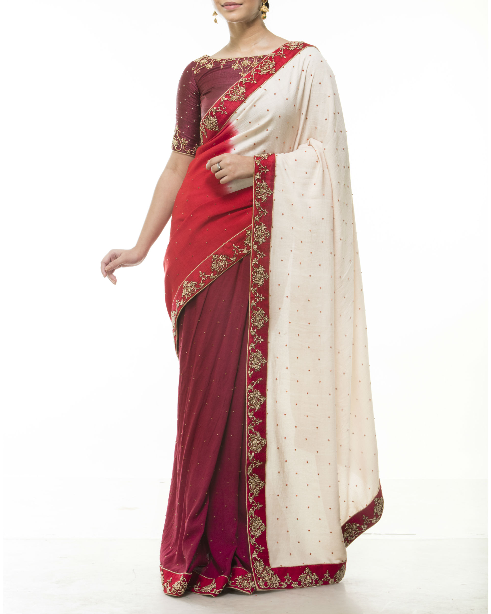 Maroon silk sari