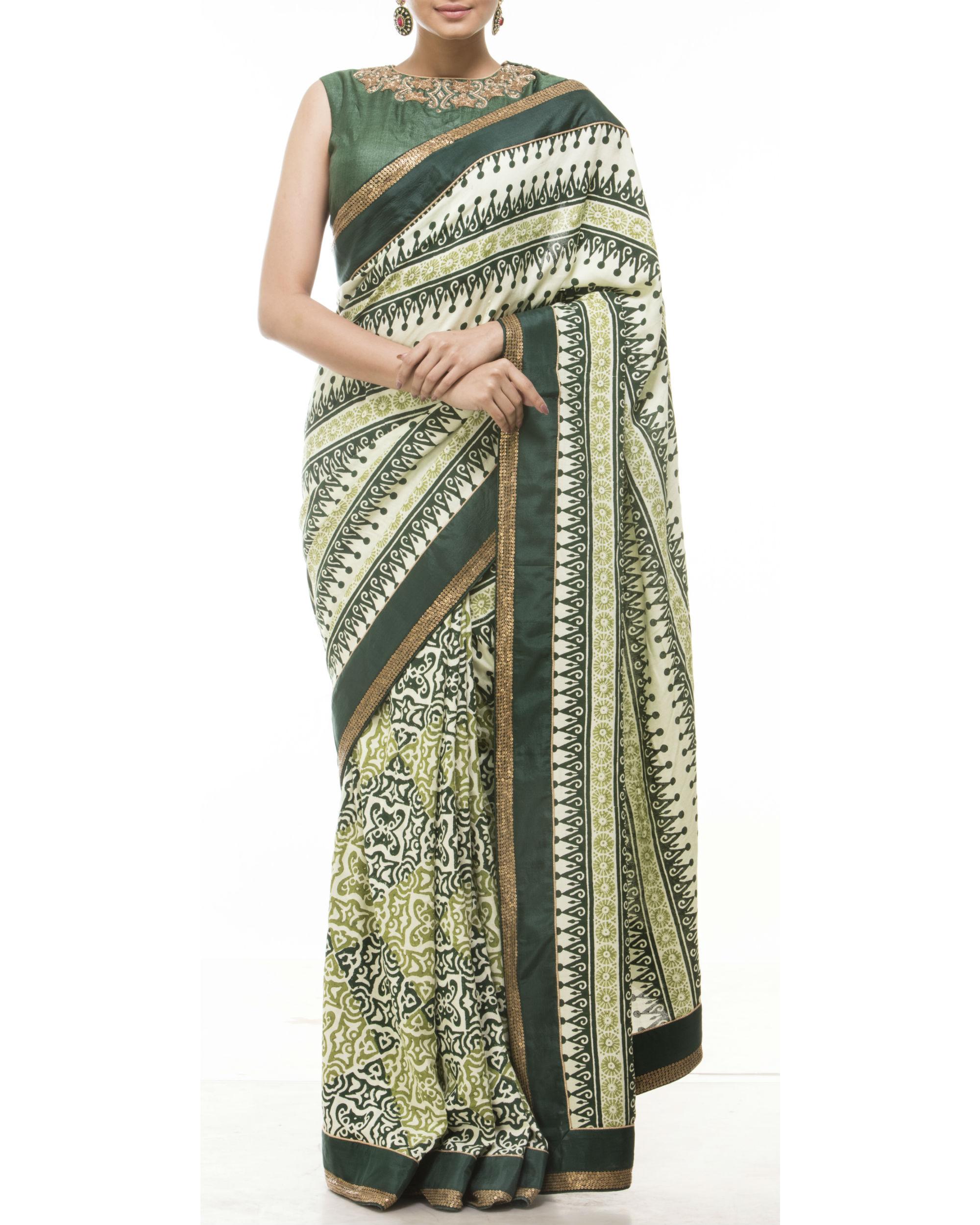 Green hand blocked printed sari