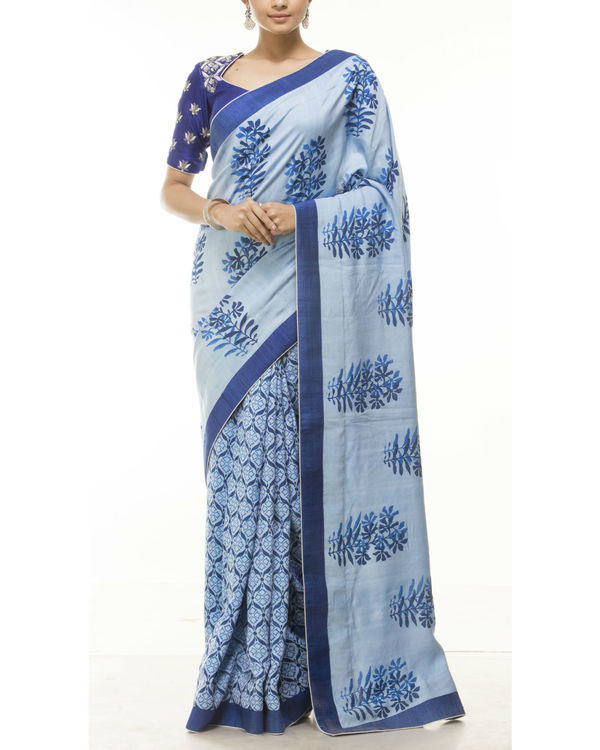 Blue hand block printed sari