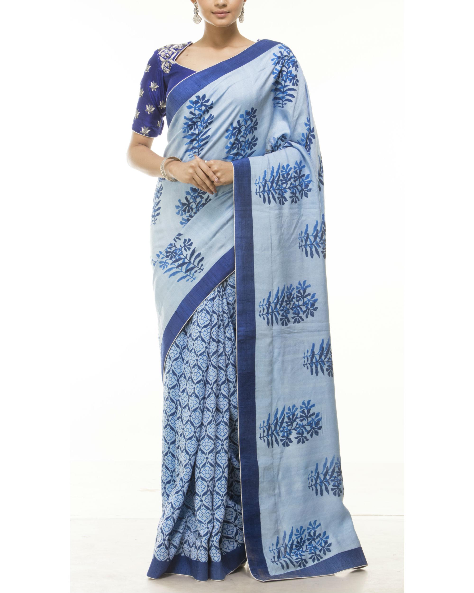 Blue hand block printed sari