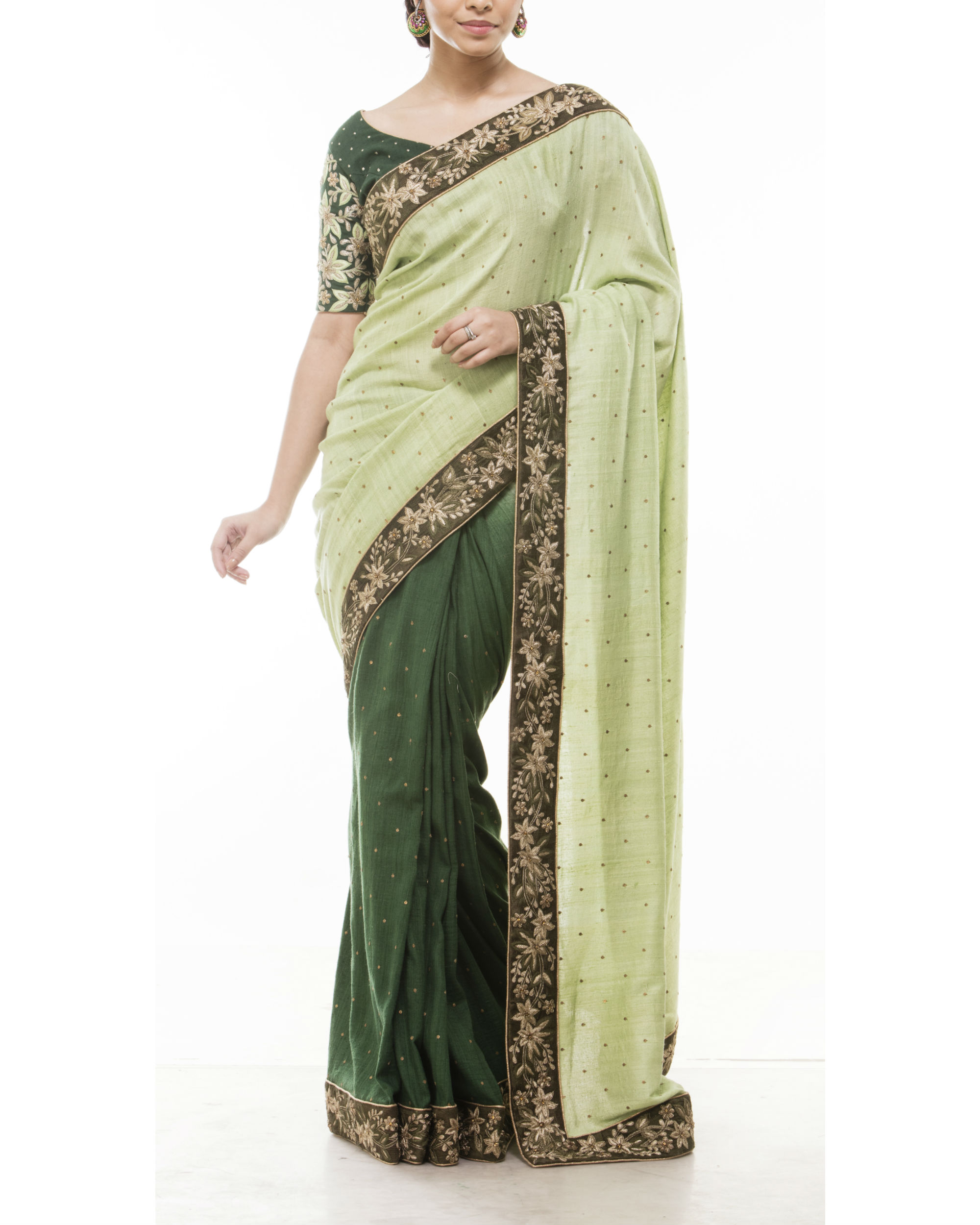 Green embroidered sari
