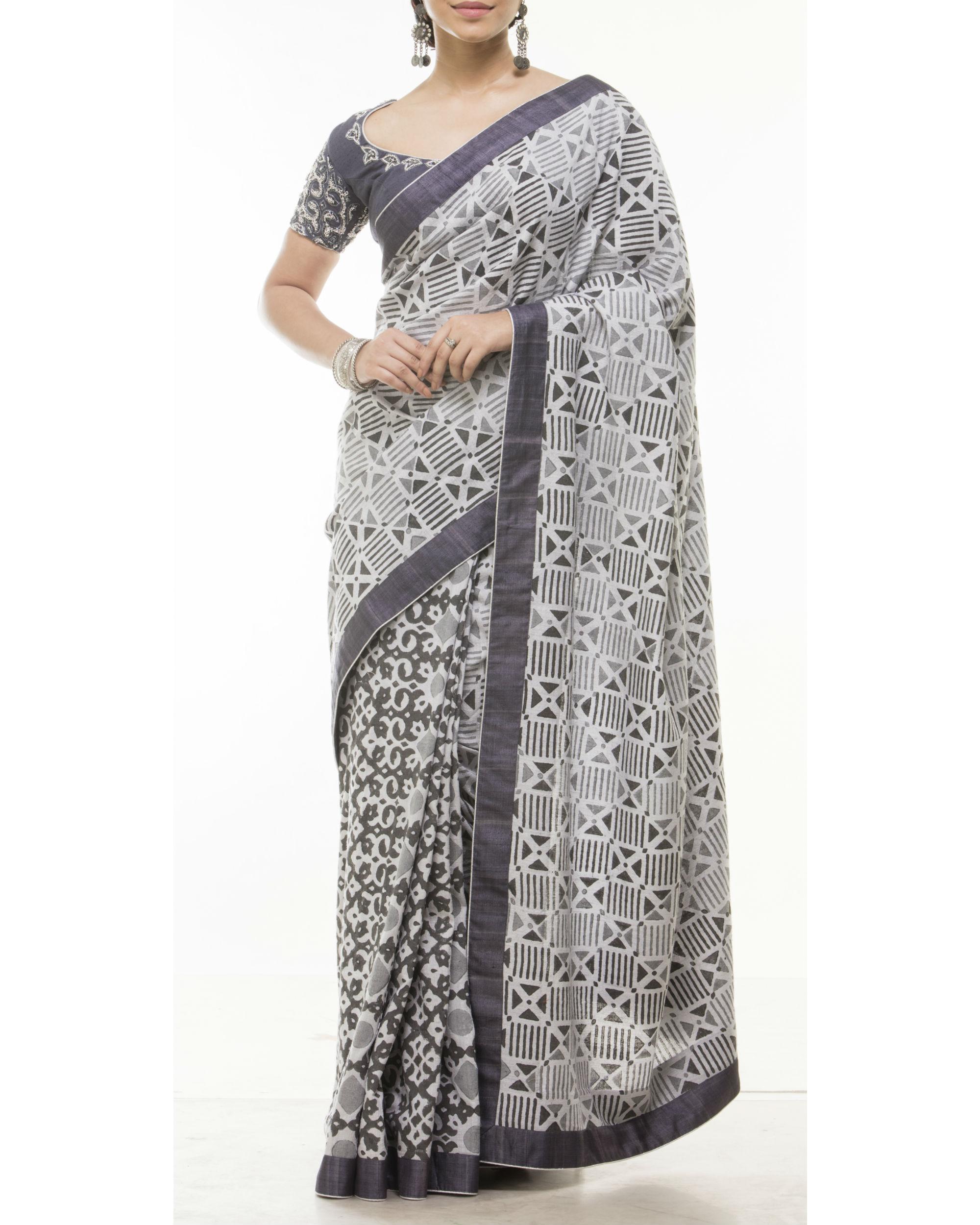 Grey half and half sari