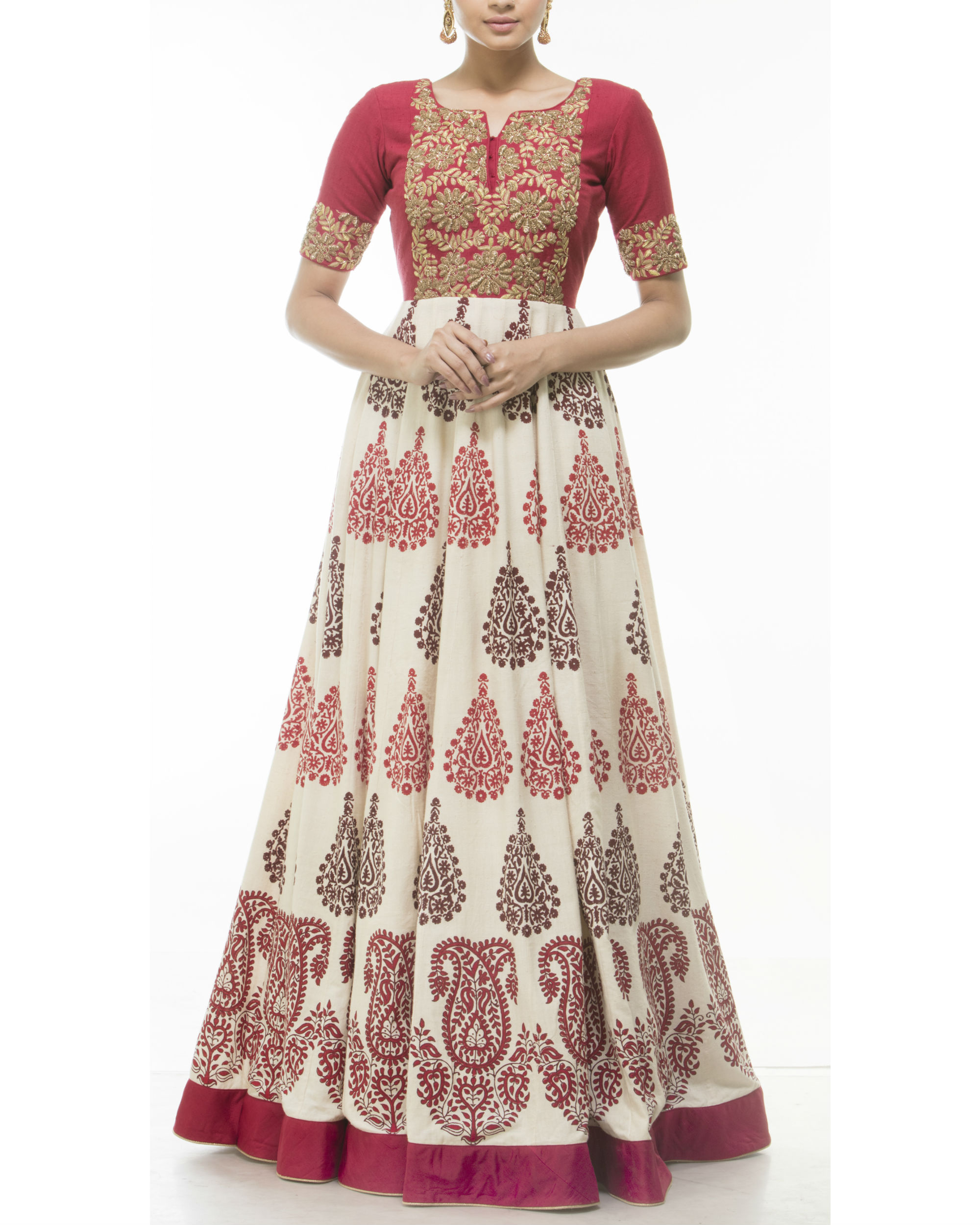 Red flared anarkali