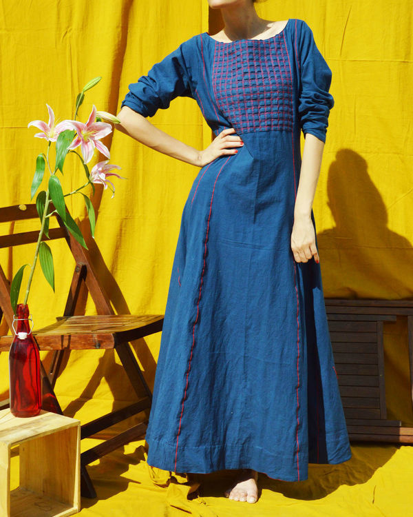 Indigo flared maxi dress