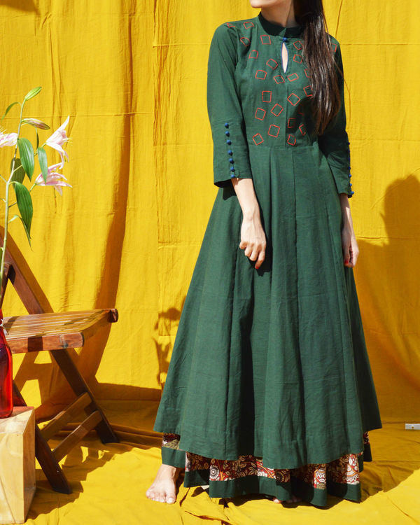 Green flared maxi dress