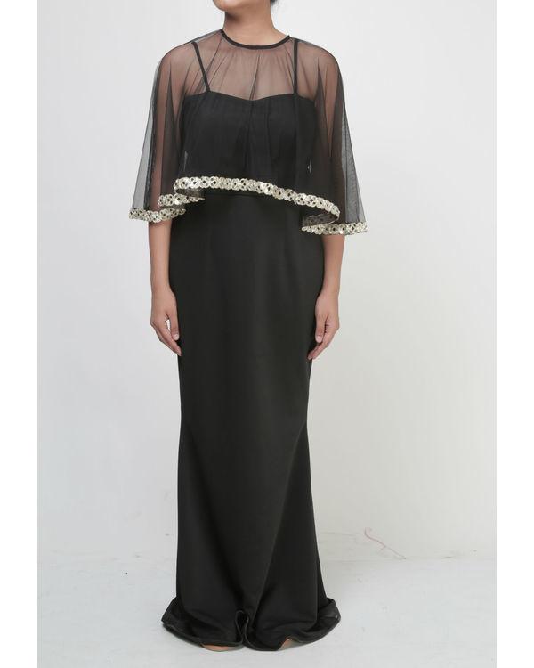 Black dress with embellished cape