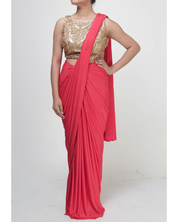 Coral draped saree