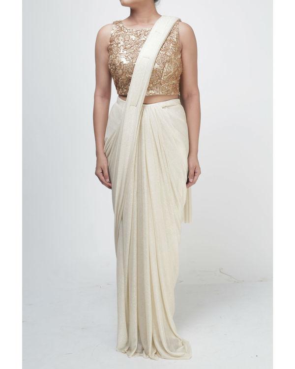 Ivory draped saree