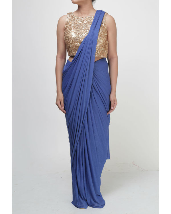 Royal blue draped saree