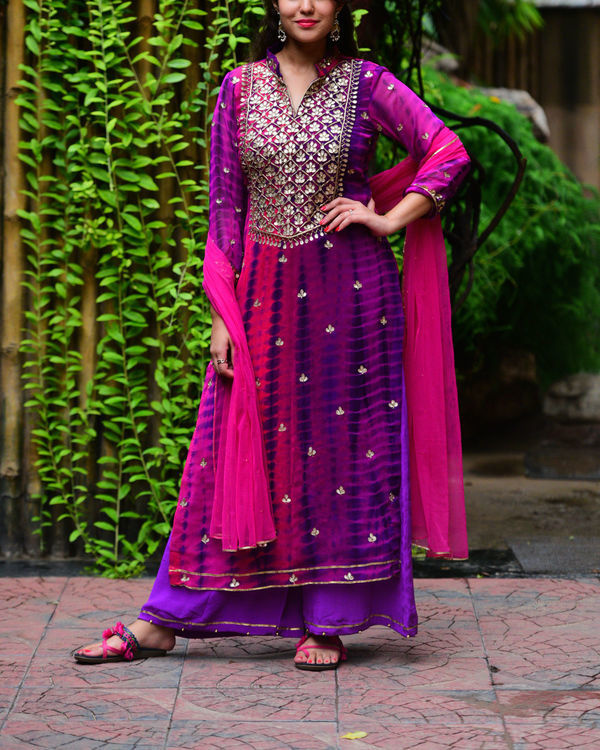 Purple pink gota patti set
