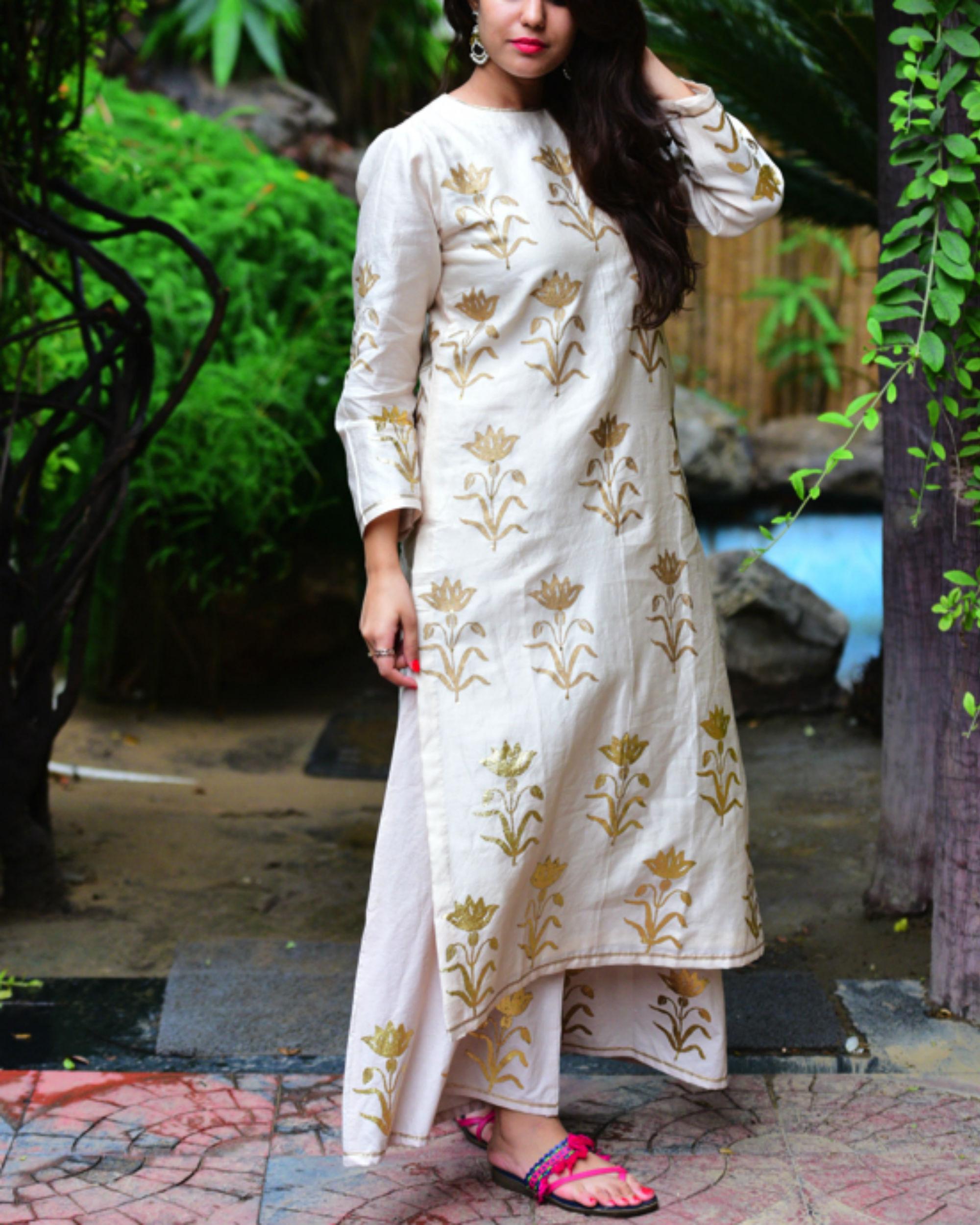 Ivory mughal kurta set