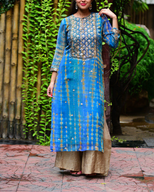Blue beige gota patti set