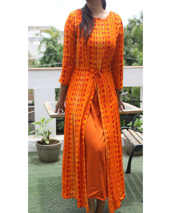 Orange front slit kurta with slip