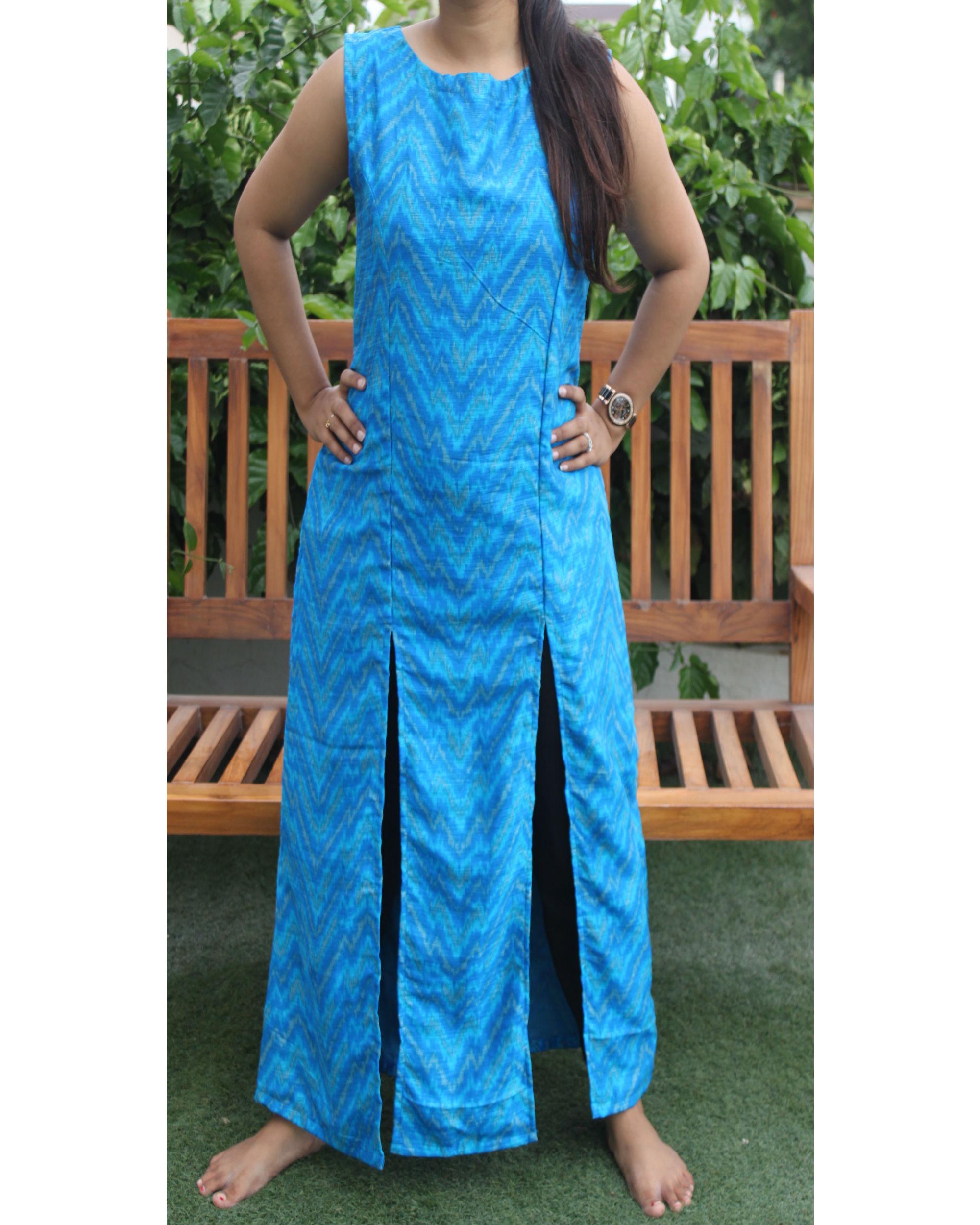 Blue double slit kurta