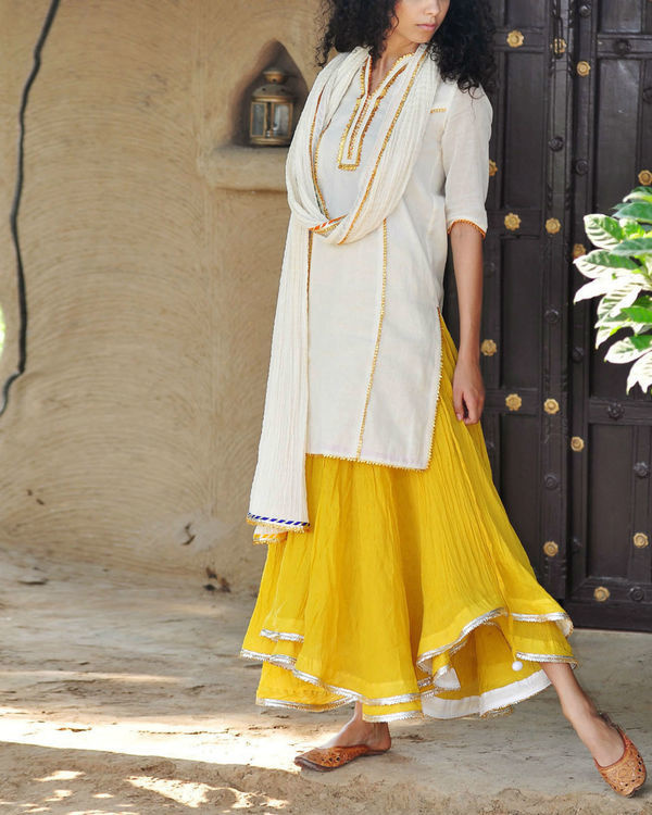 Mustard and ivory ghagra set