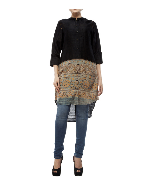 Black shirt with front half ajrakh printed tunic