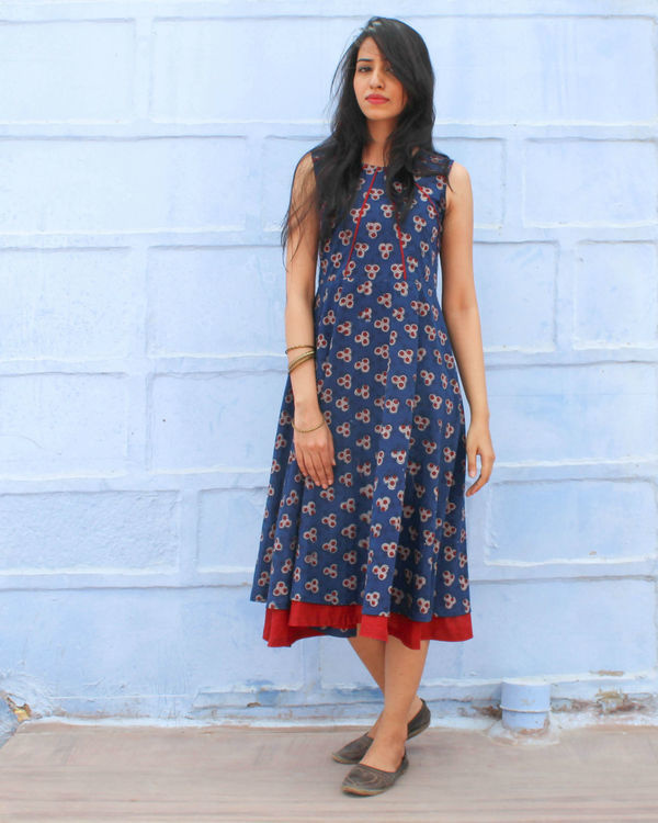 Indigo pleated dress