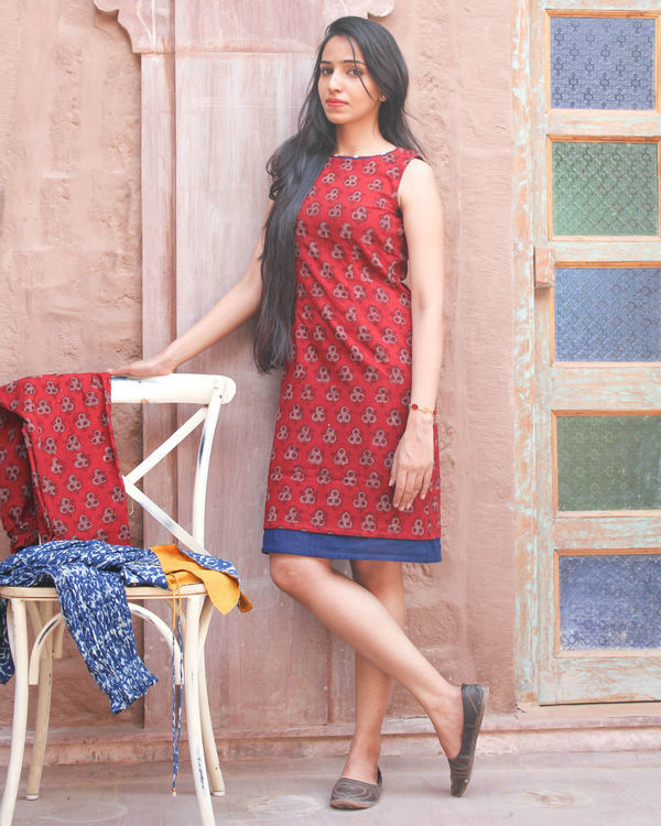Red hand block printed dress