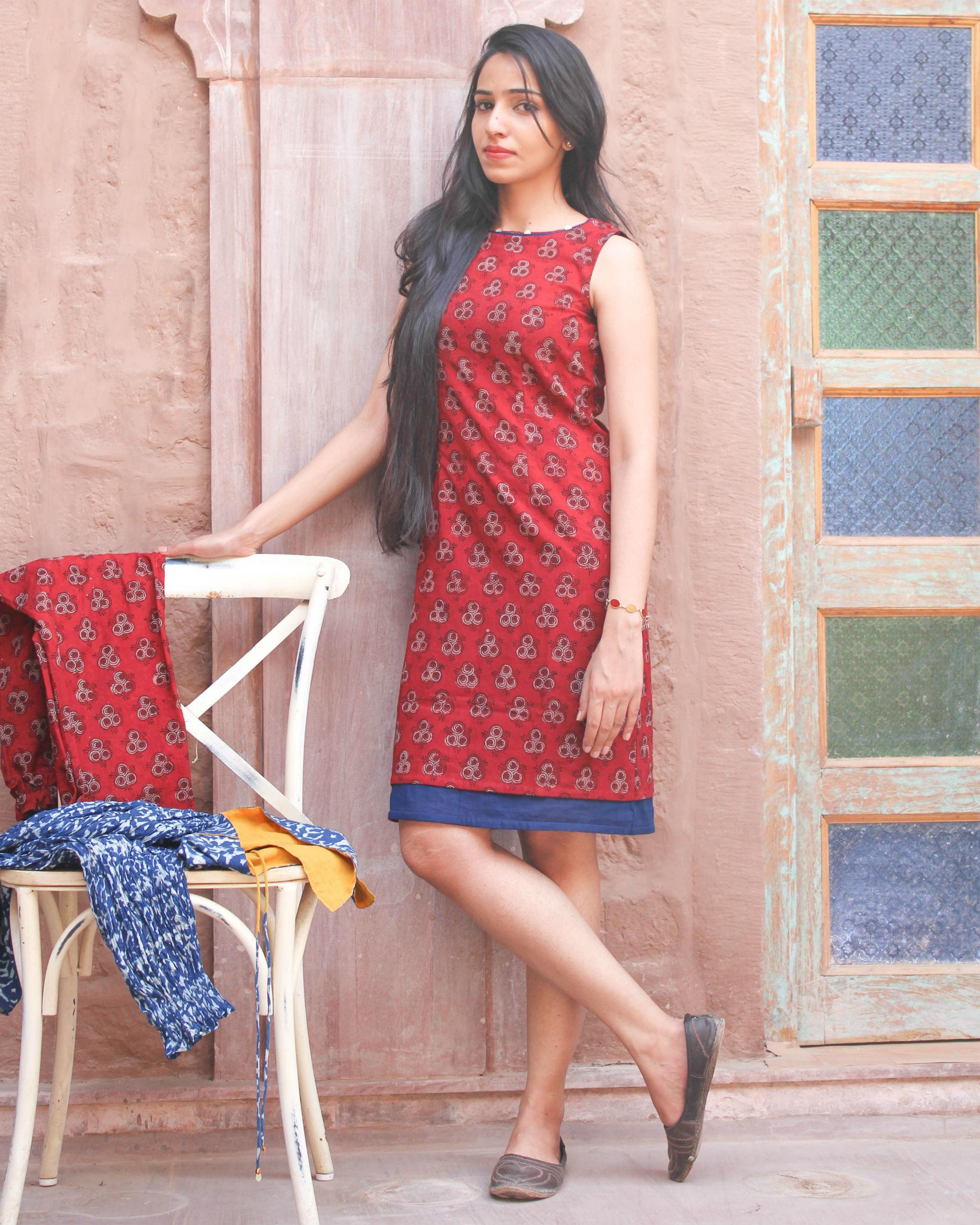 Red hand block printed dress