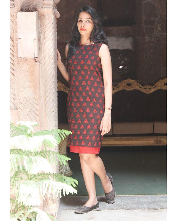 Black hand block printed dress