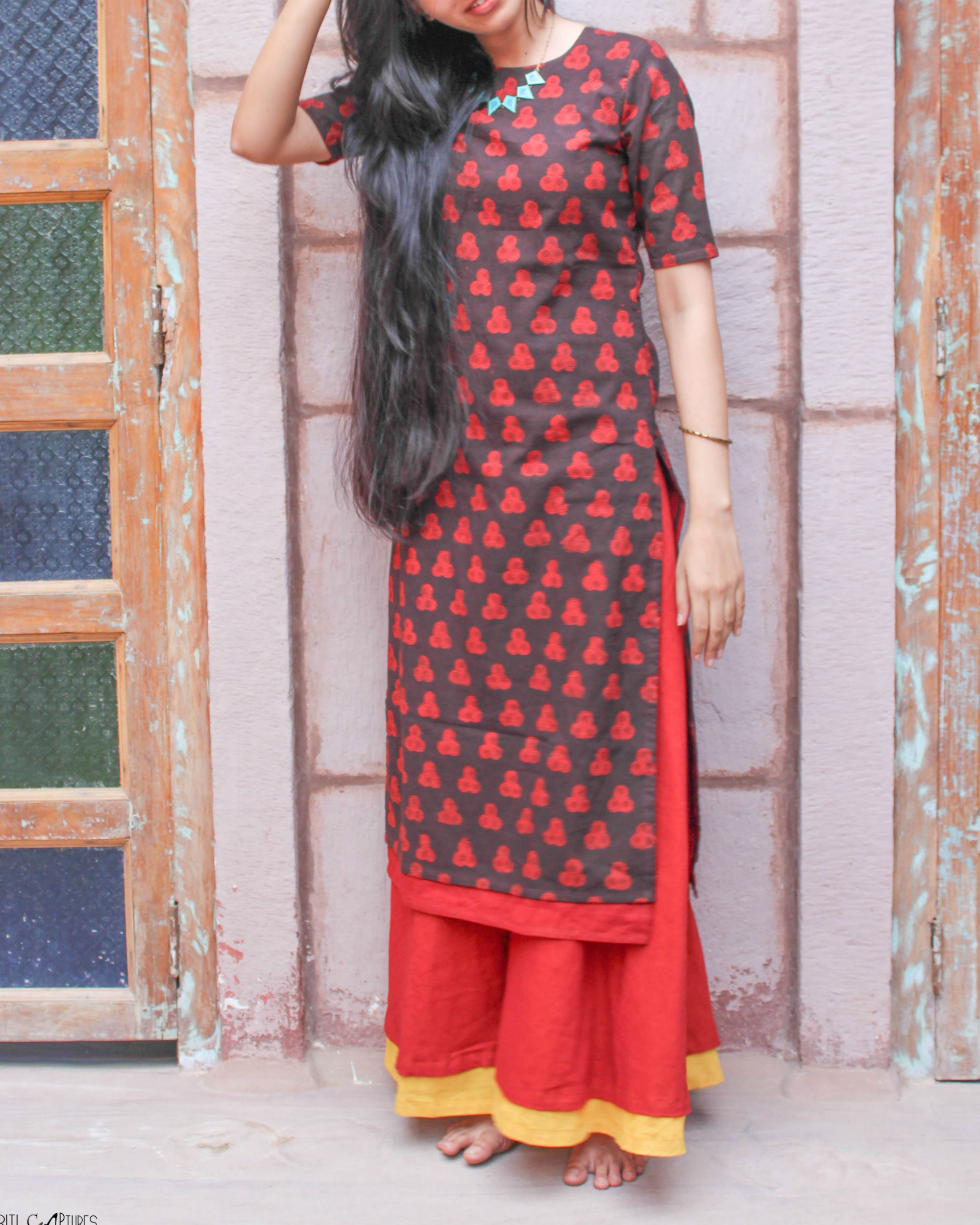 Black double layered kurta