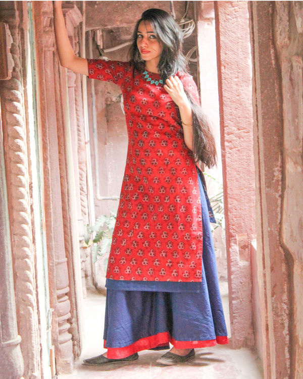 Red double layered kurta