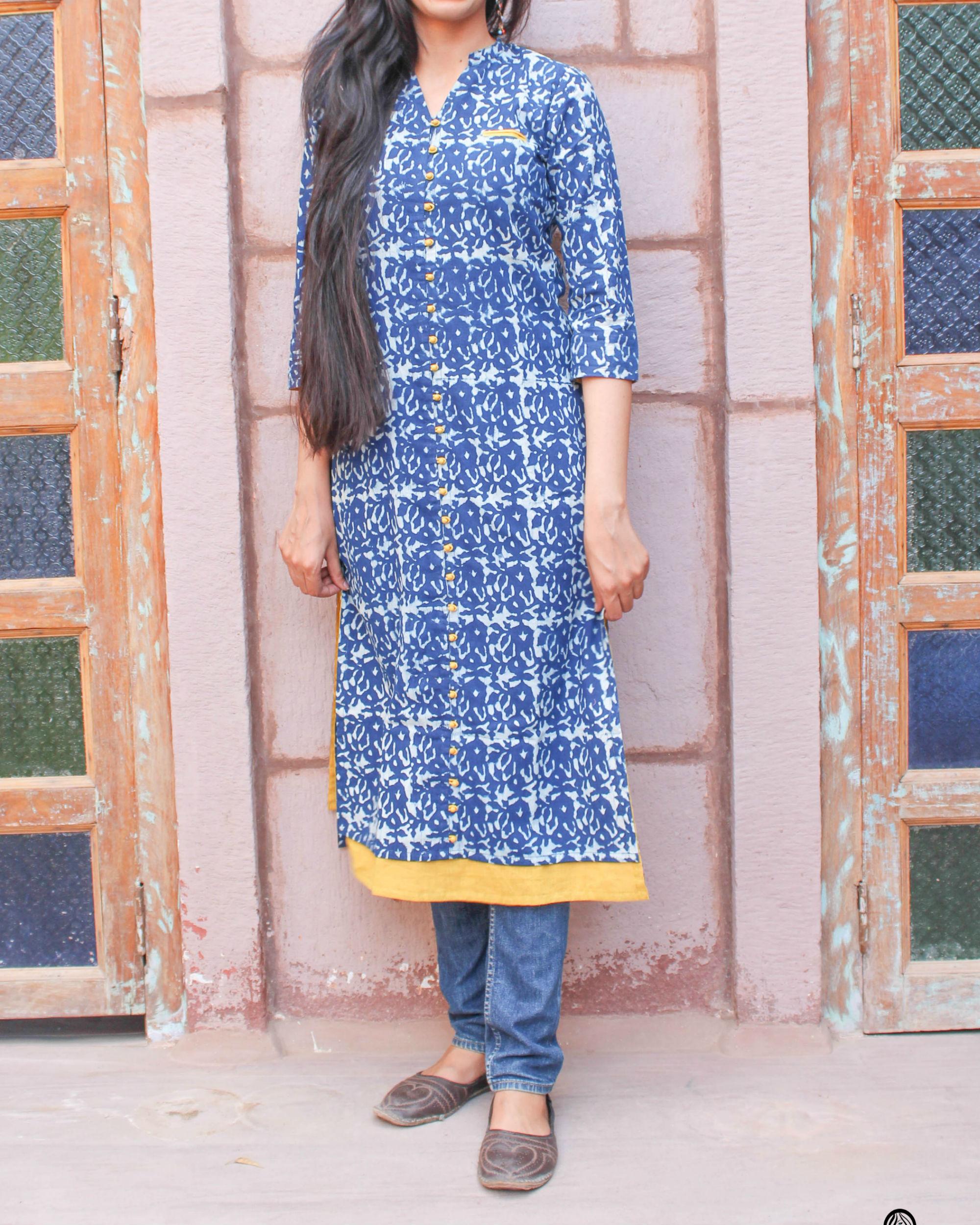 Indigo kurta with pockets