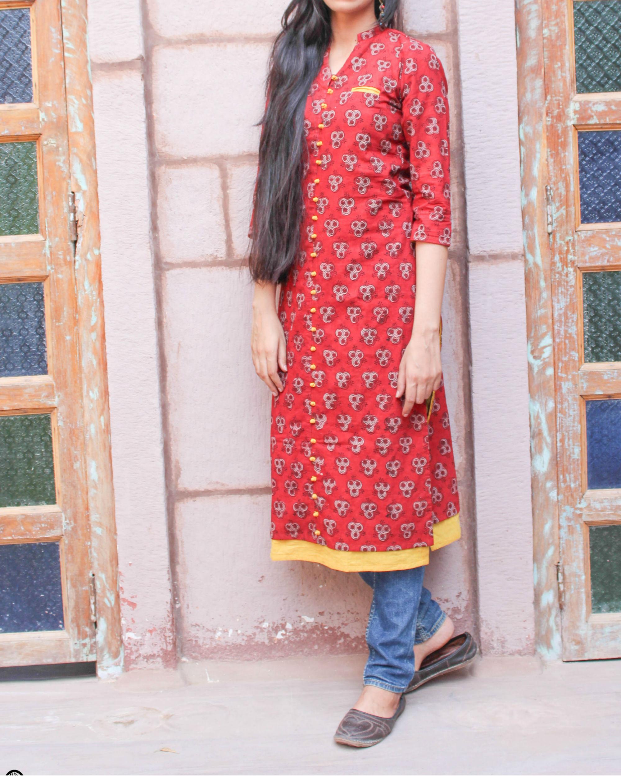 Red kurta with pockets