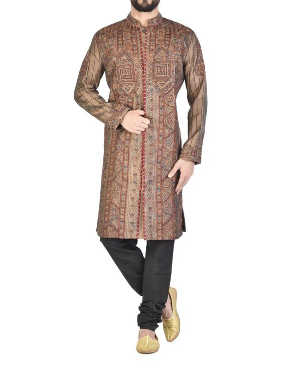 Raw silk maroon achkan