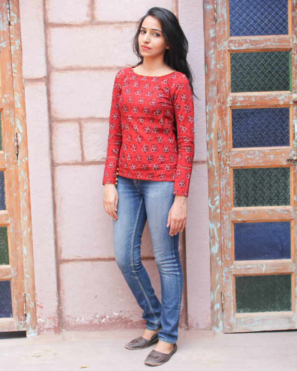 Red hand block printed top
