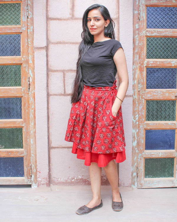Red double layered skirt