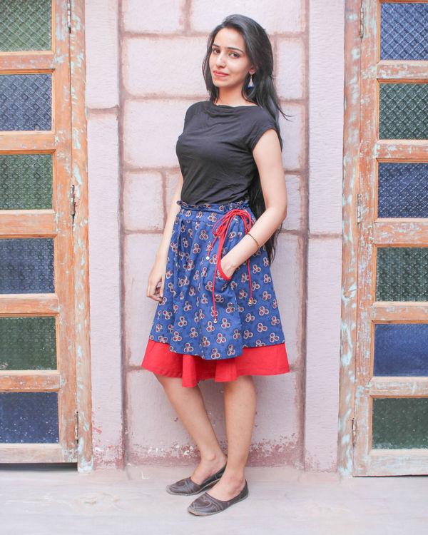 Indigo double layered skirt