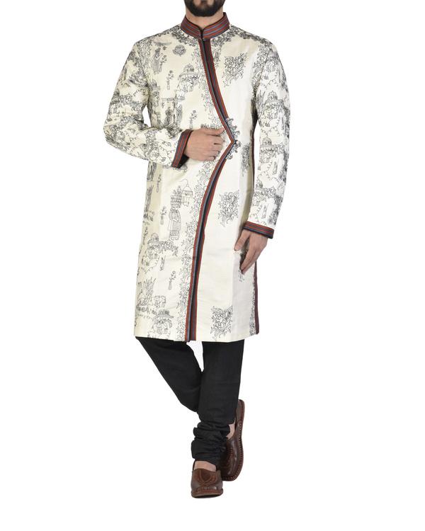 White dupion silk angrakha