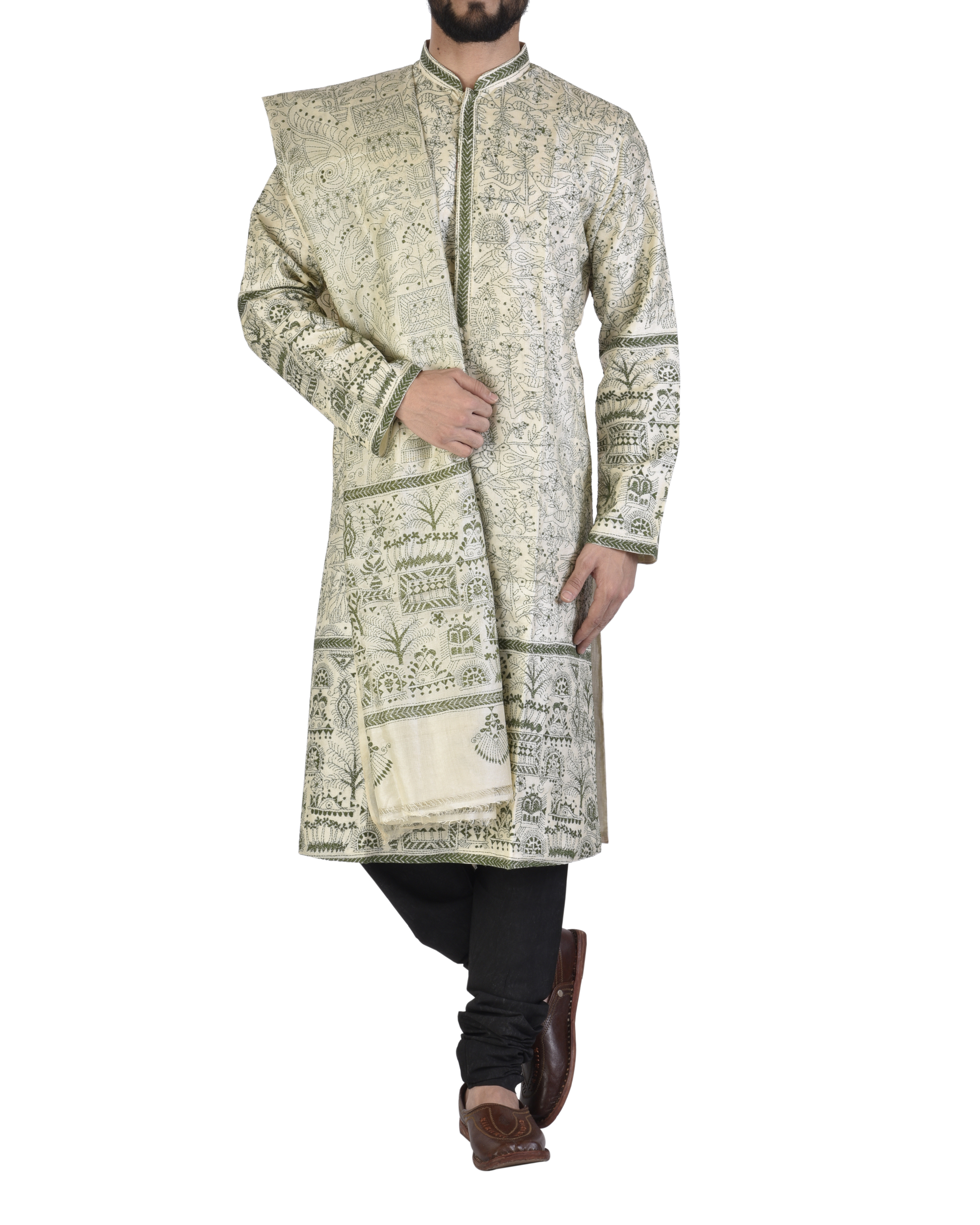 Tussar silk achakan and shawl