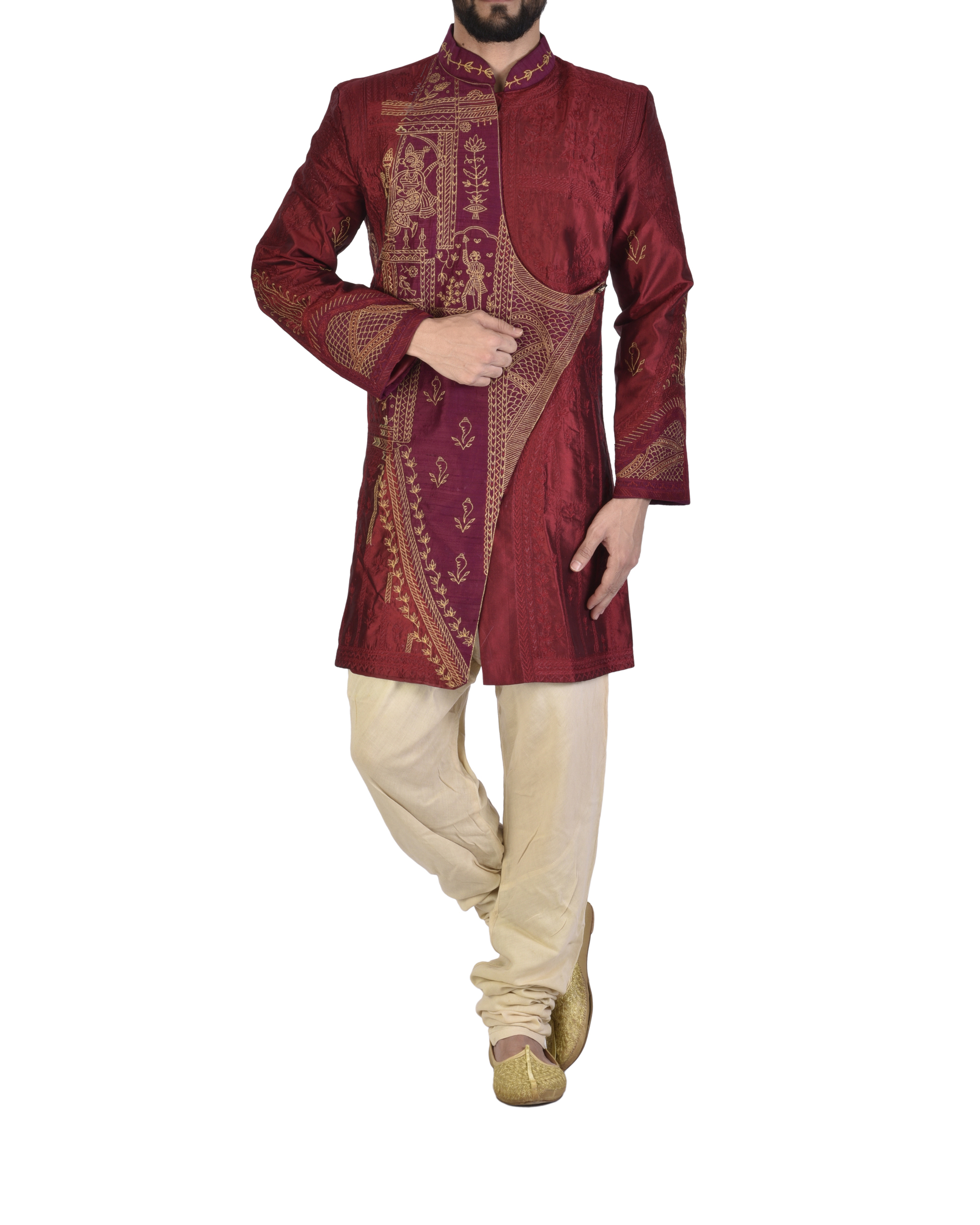 Maroon Dupion silk embroidered angrakha