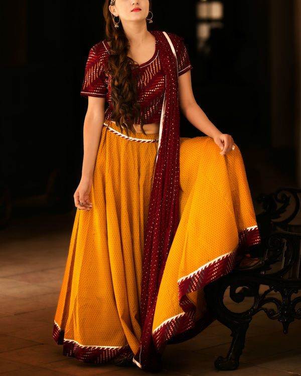 Mustard and maroon lehenga set