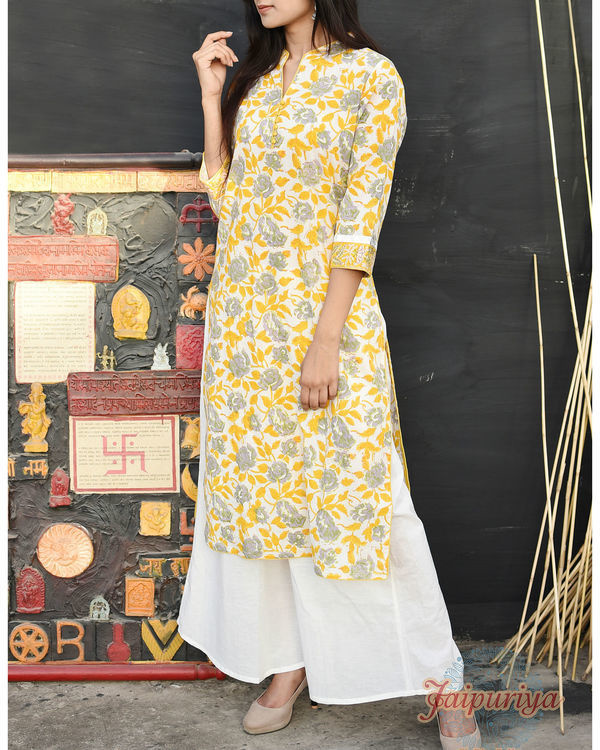 Pastel yellow cotton kurta