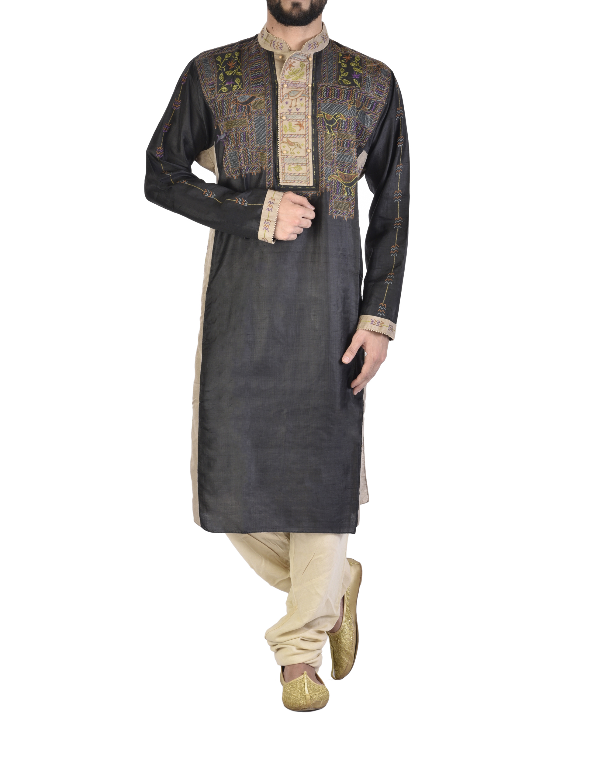 Beige and Black tussar Silk kurta