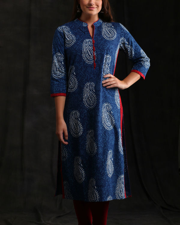 Indigo and Scarlet Kurta