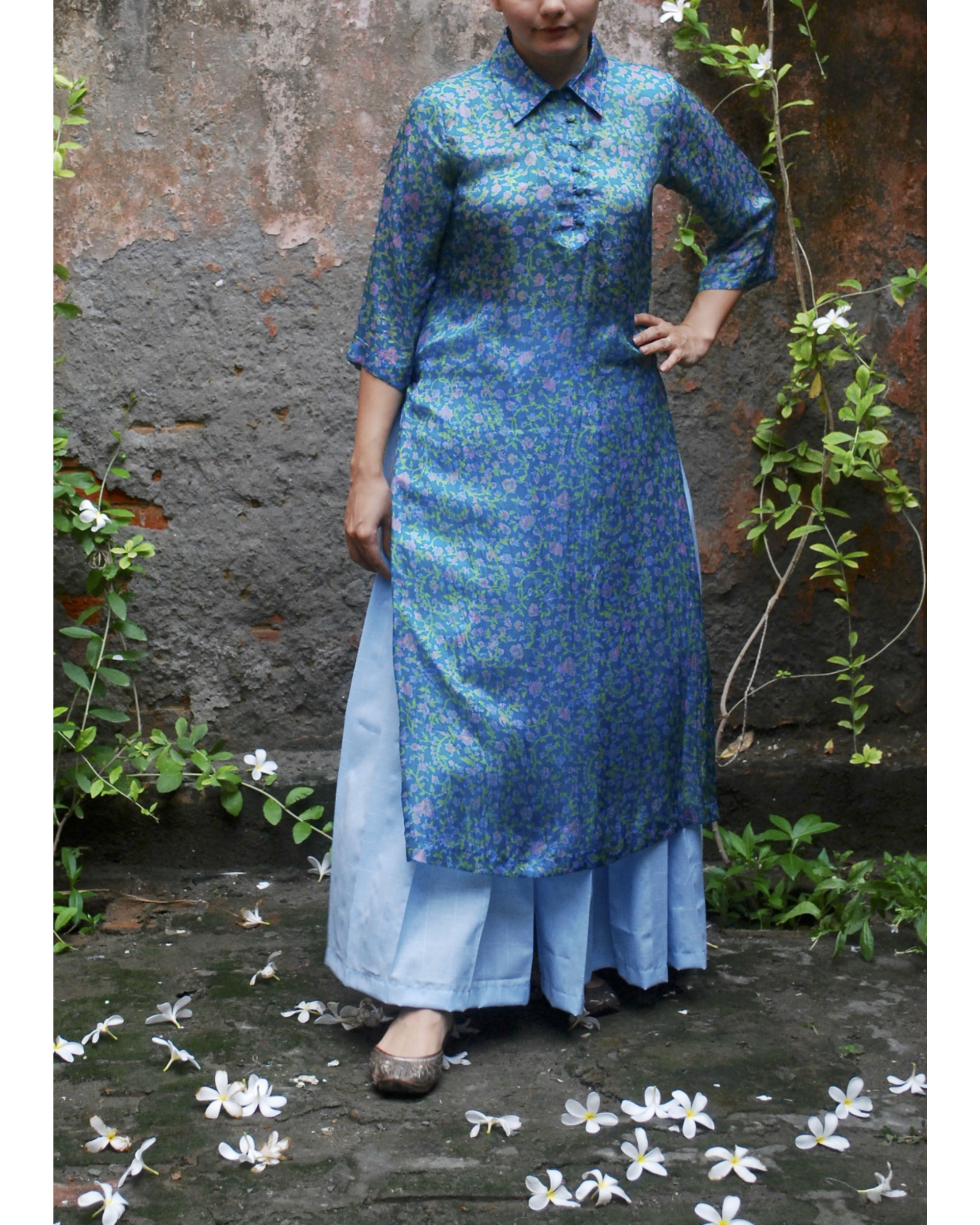 Vintage chintz silk kurta
