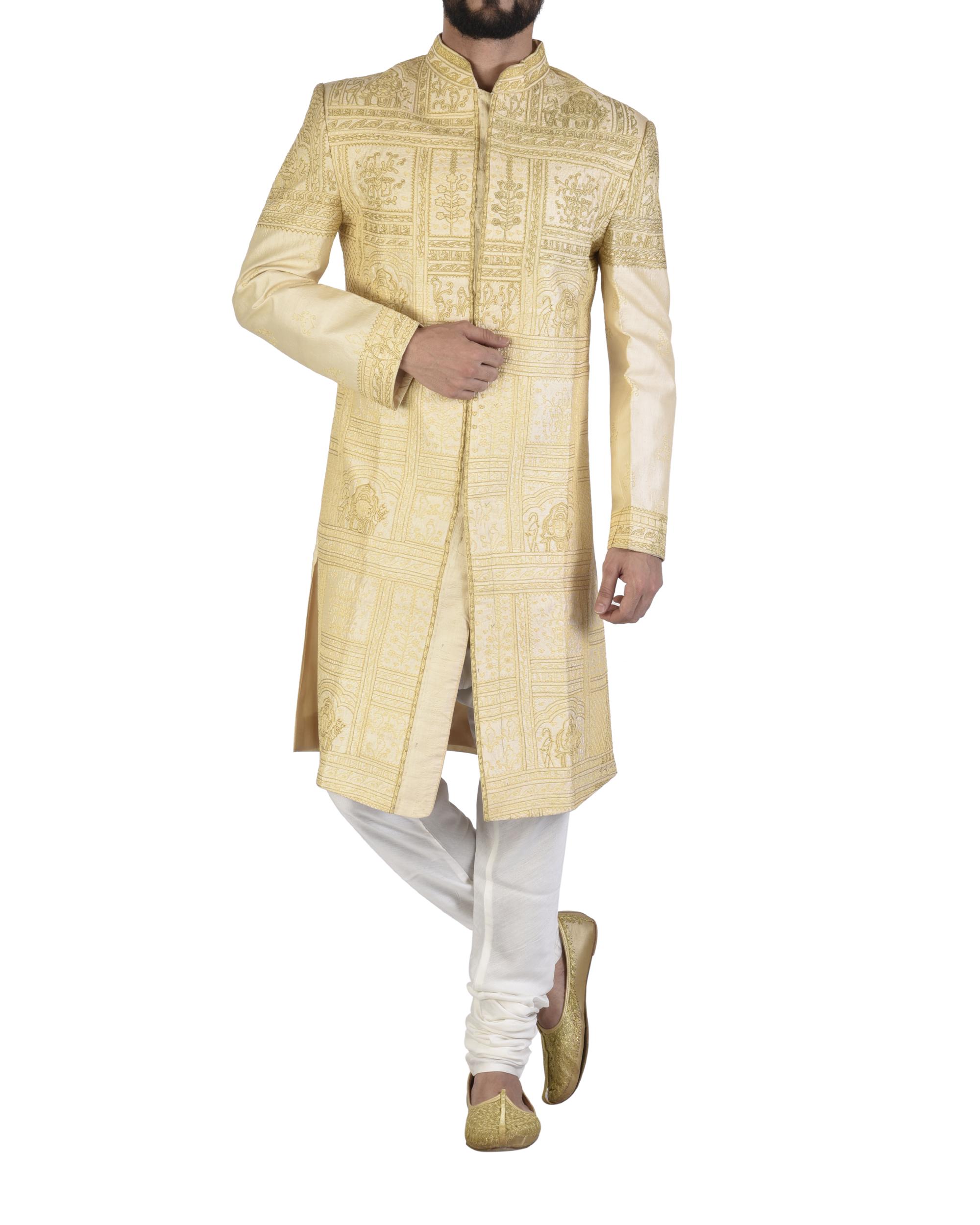 Pure silk beige achkan