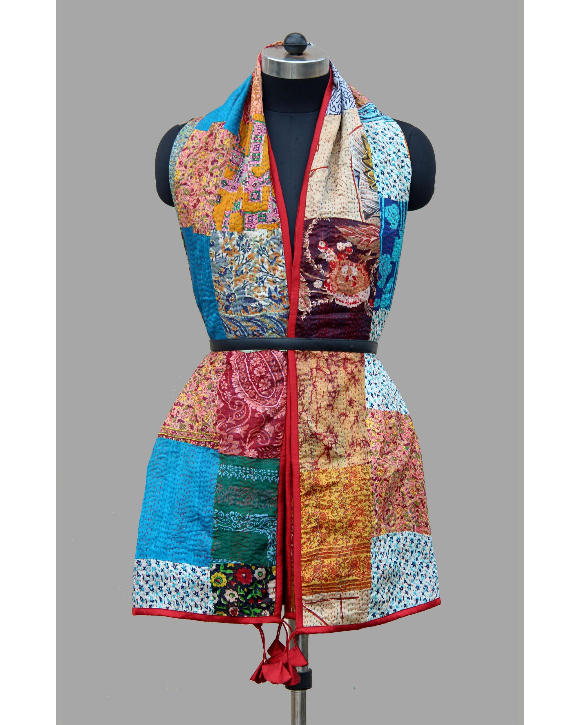 Kantha silk patchwork stole