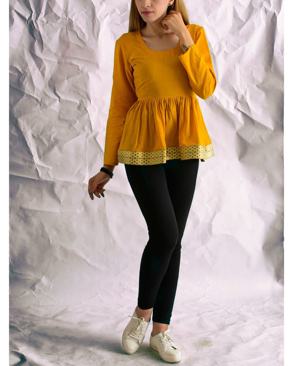 Mustard sunshine peplum top