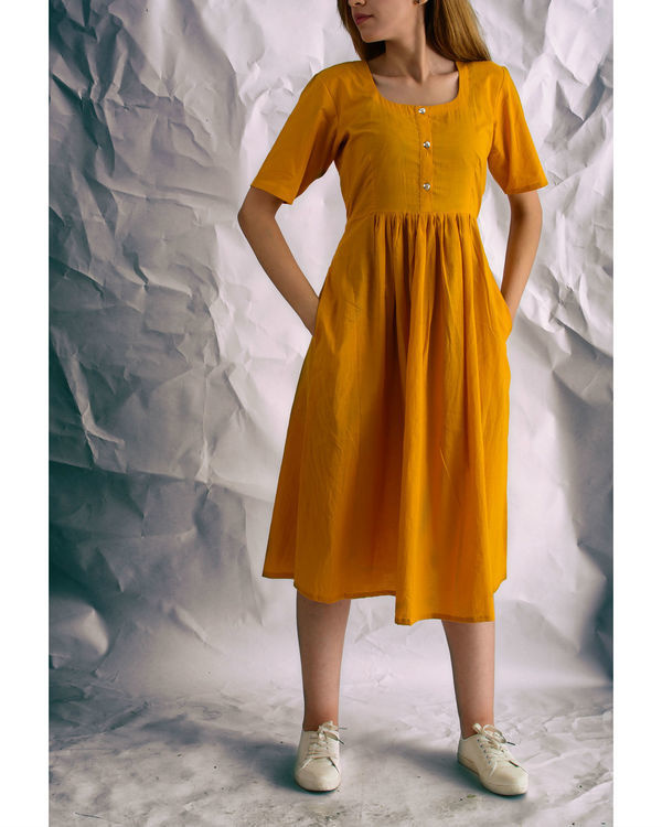 Mustard sunshine midi dress