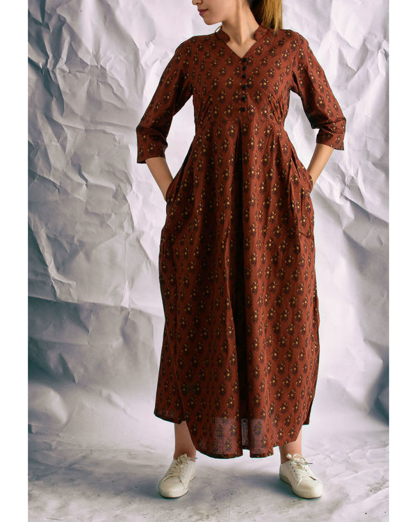 Brown hand blocked maxi dress