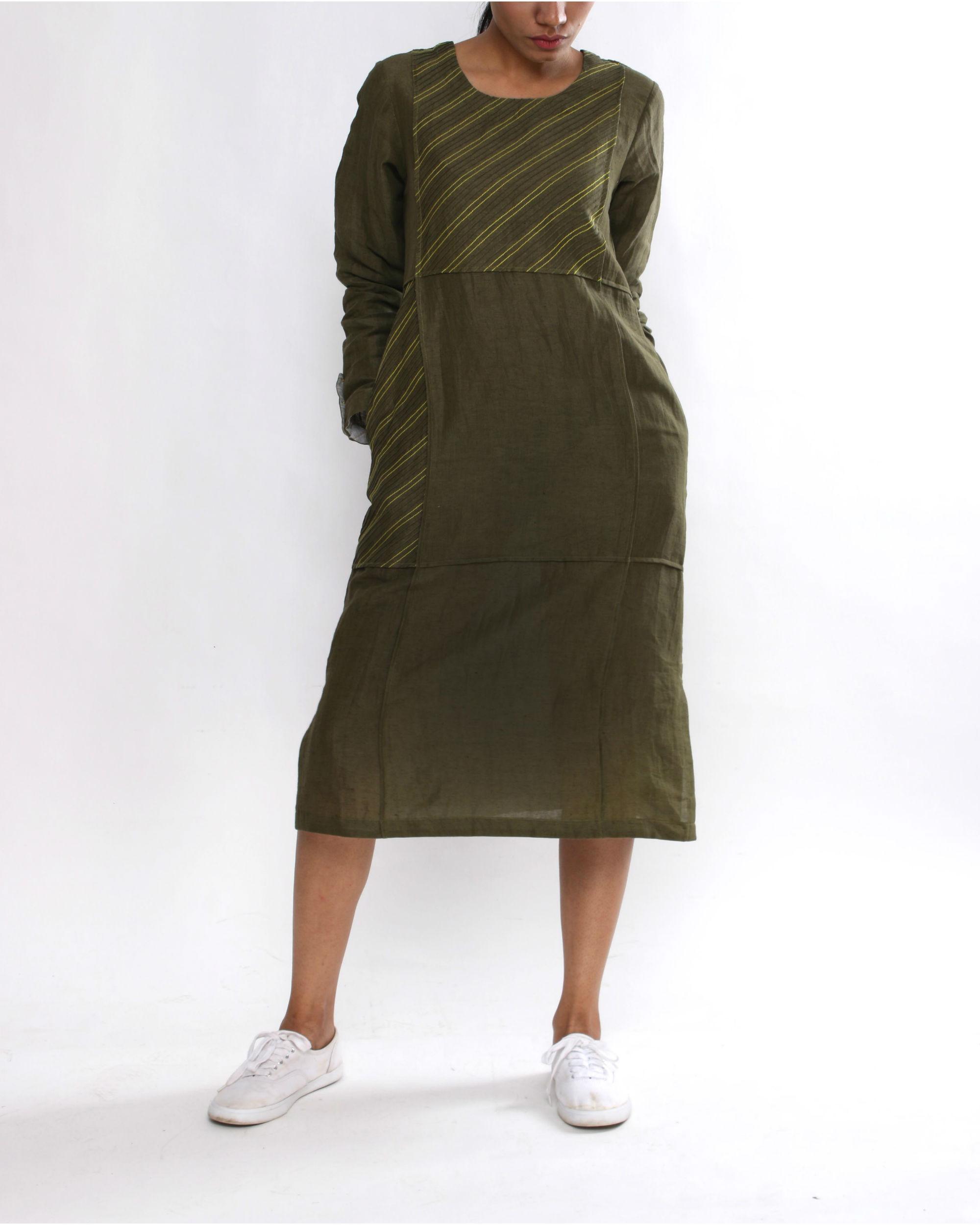 Olive panel dress