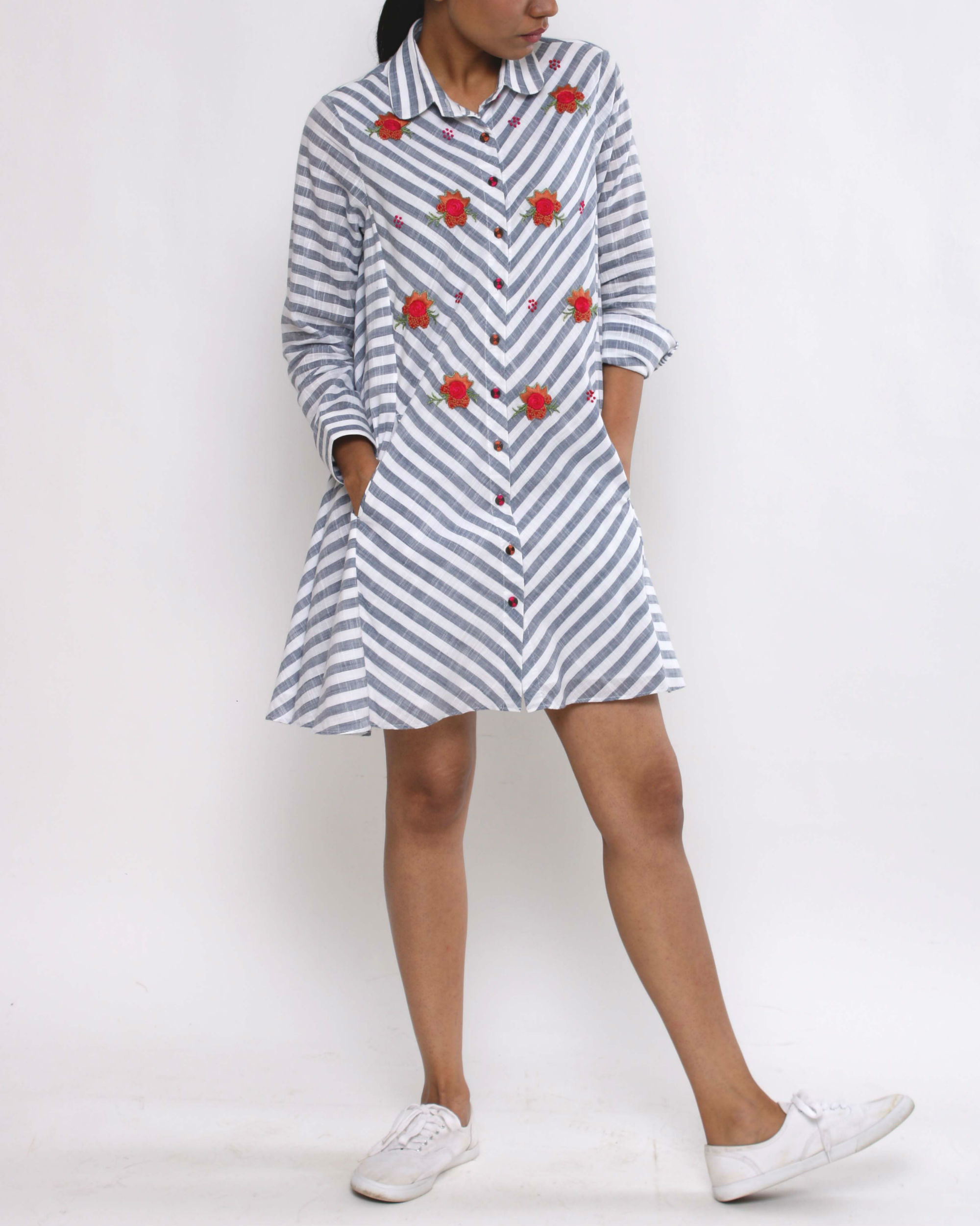 Striped rosette dress