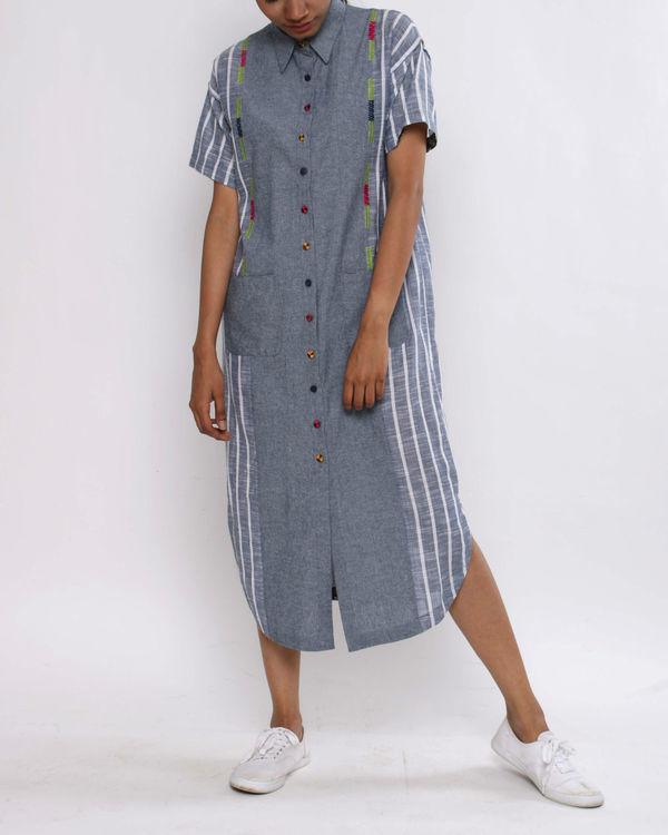 Denim stripe shirtdress