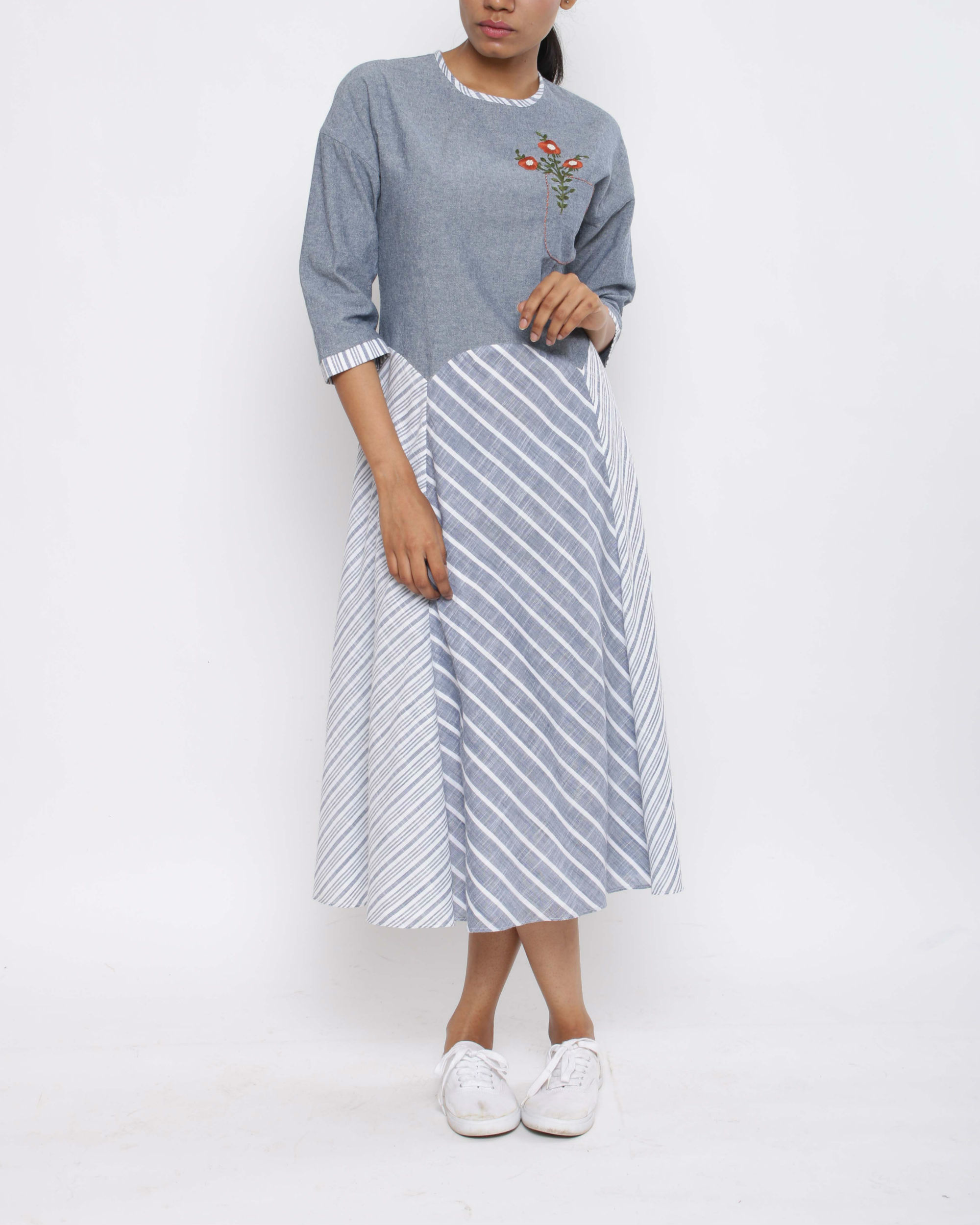 Denim stripe herb dress
